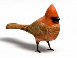 Male cardinal bird 3d model preview