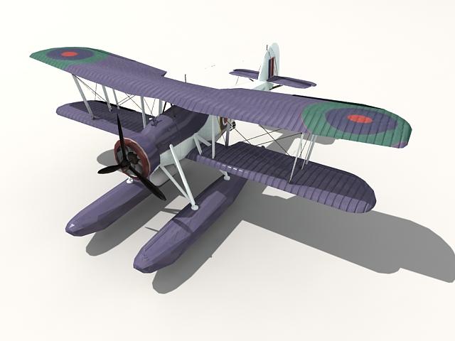 Fairey Swordfish floatplane 3d rendering