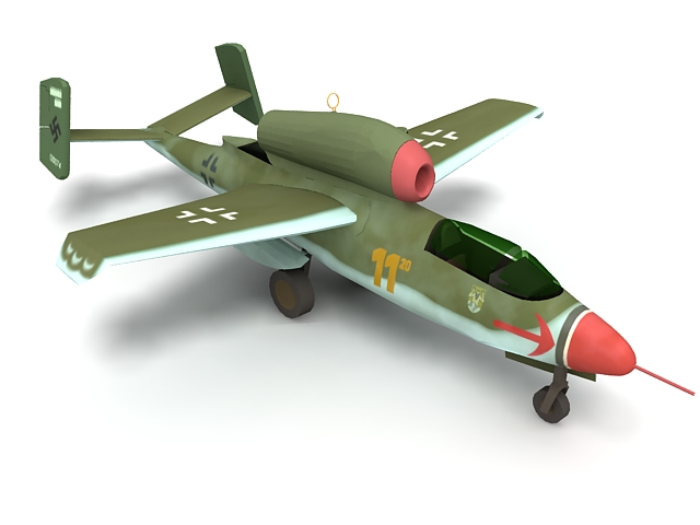 HE 162 fighter aircraft 3d rendering