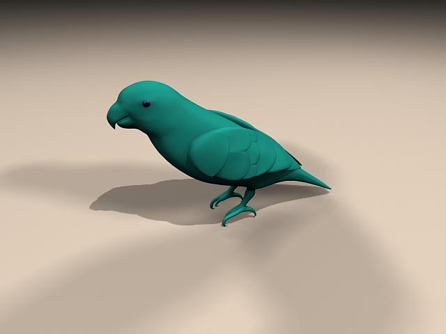 Blue parrot bird 3d rendering
