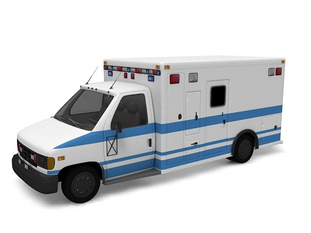 Truck based ambulance 3d rendering