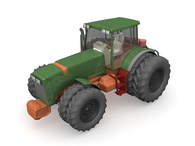 8 Wheel tractor 3d rendering