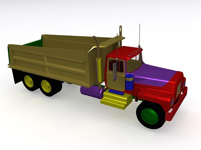 Toy dump truck 3d rendering