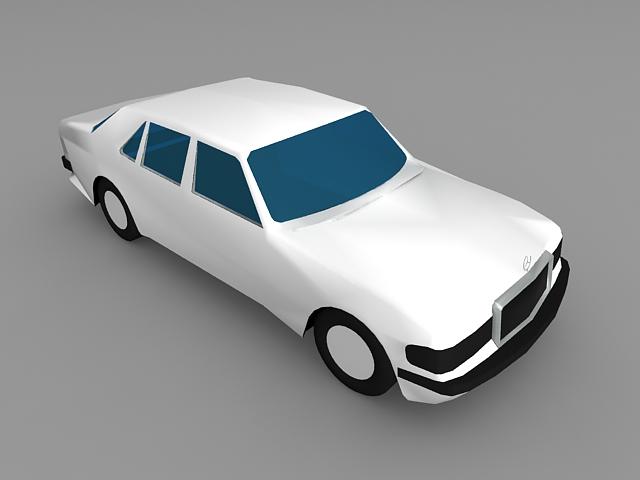 White Mercedes Car 3d rendering