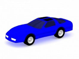Blue hatchback coupe 3d preview