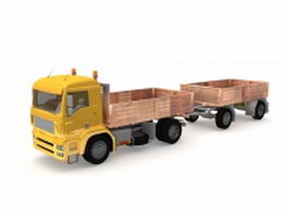 Dump truck with trailer 3d preview