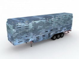Commercial livestock trailer 3d preview