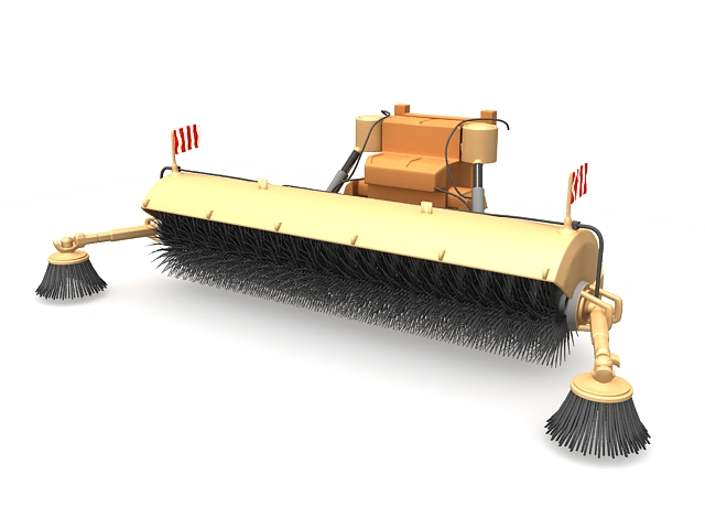 Truck mounted street sweeper 3d rendering