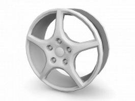 Car wheel and rim 3d model preview
