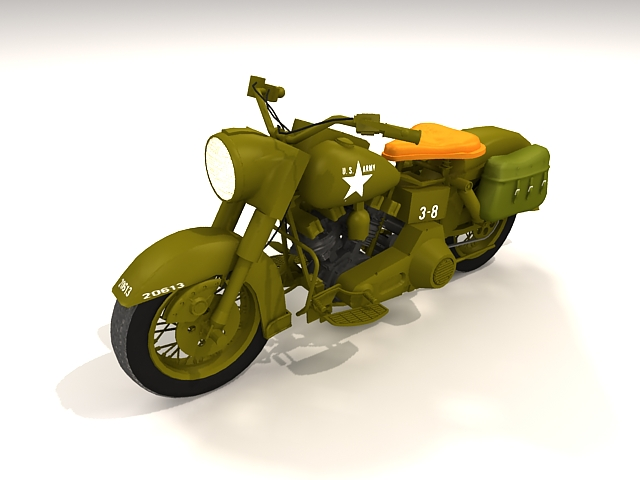 Army military motorcycle 3d rendering