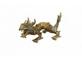 Golden dragon statue 3d preview