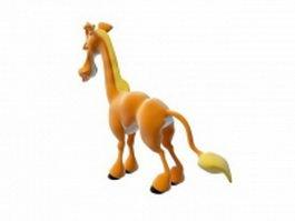 Cute cartoon horse 3d model preview
