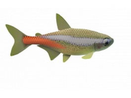 Neon aquarium fish 3d preview