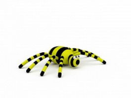 Yellow and black spider 3d model preview