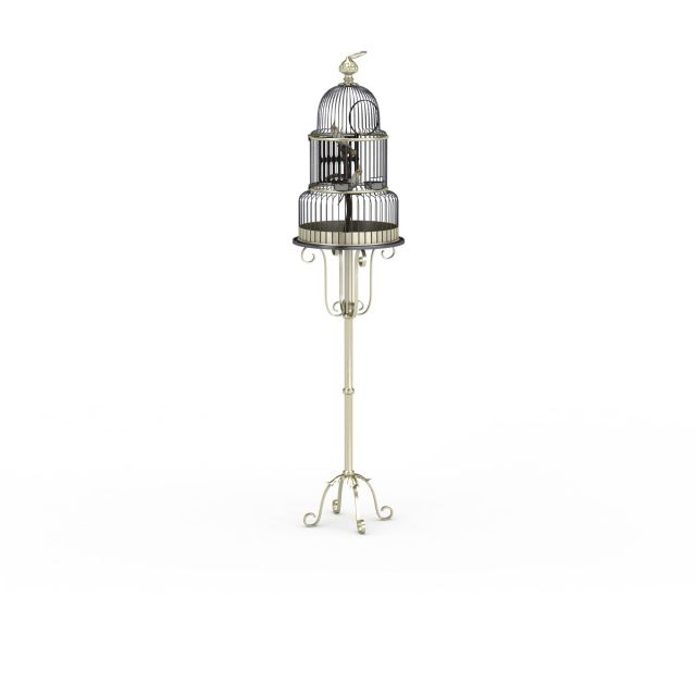 Birdcage with stand 3d rendering