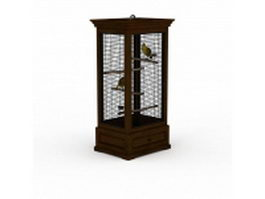 Square wood bird cage 3d preview