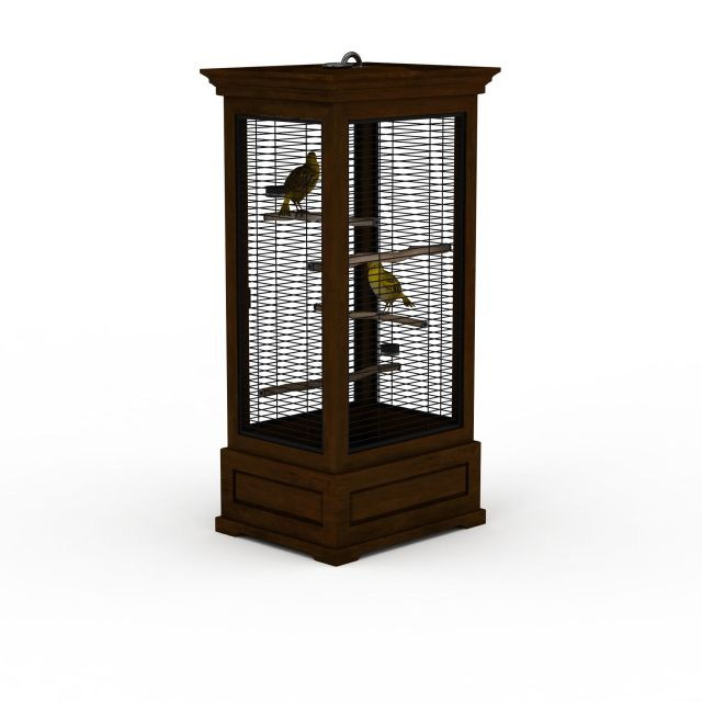 Square wood bird cage 3d rendering