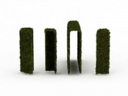 Trimmed hedge 3d model preview