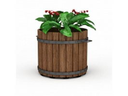 Vintage wood planter 3d preview