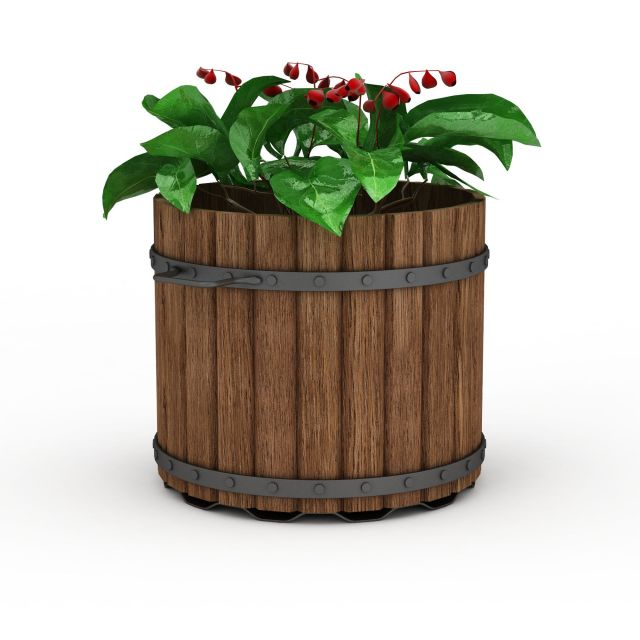 Vintage wood planter 3d rendering