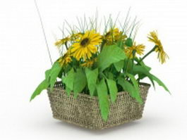 Sunflowers in basket 3d model preview