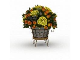 Garden ornamental flower basket 3d model preview