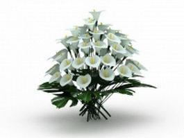 White lilium flowers 3d model preview