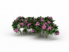 Pink flowers plants 3d model preview