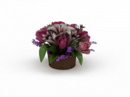 A basket of flowers 3d model preview