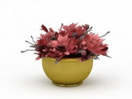 Planter with flowers 3d model preview