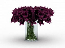 Glass vase with flowers 3d model preview