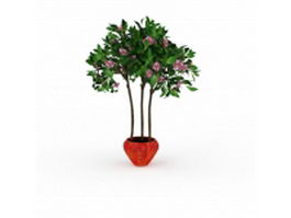 Large potted flowering tree 3d preview
