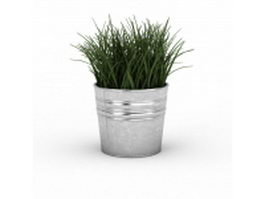 Round metal planter 3d preview