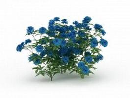 Blue flower shrub plants 3d model preview