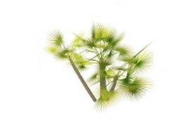 Landscape palm trees 3d model preview