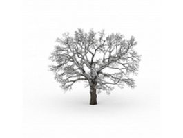 Snowy bare tree 3d model preview