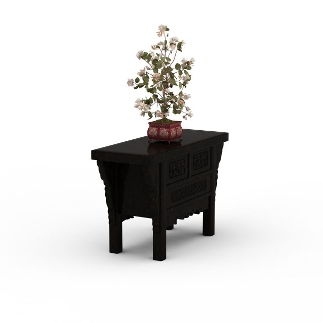 Antique table and plants 3d rendering