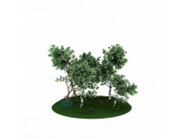 Tree and grass 3d preview