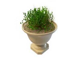 Garden urn planter pot 3d model preview