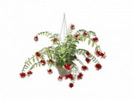Hanging flower pot plant 3d model preview