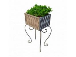 Vintage garden planter stand 3d model preview