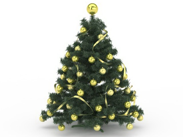 Gold Ornaments Christmas tree 3d rendering