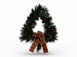 Triangle Christmas wreath 3d preview
