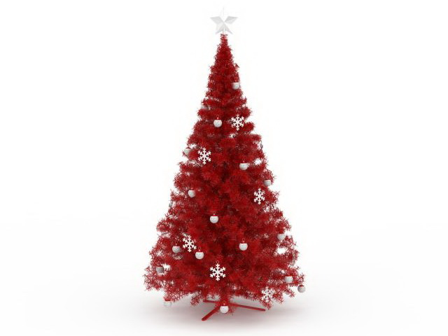 Red Christmas tree 3d rendering