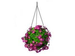 Hanging flowering plants 3d model preview
