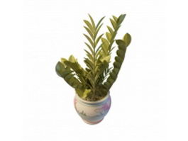 Basil plant in pottery pot 3d preview