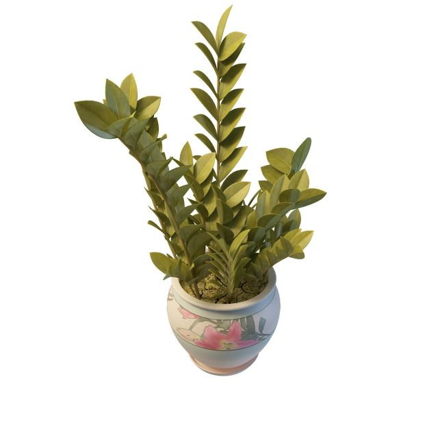 Basil plant in pottery pot 3d rendering
