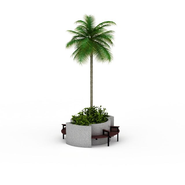 Garden planter tree with bench 3d rendering