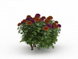 Garden flowers 3d model preview