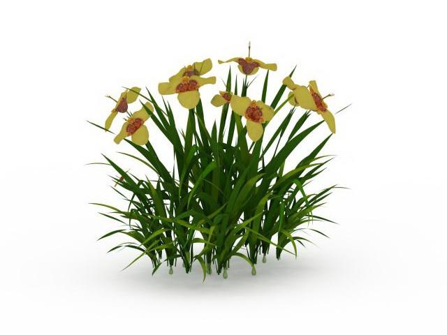 Shrub yellow flowers 3d rendering